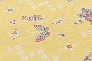 岡本隆志作 型絵染名古屋帯地 「扇・牡丹・蝶ちらし文」のサブ3画像