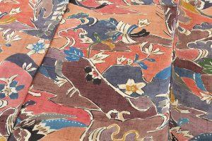 添田敏子作 型絵染紬着物地 「岩万花」のサブ2画像