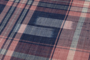 新垣幸子作 八重山手縞上布「紺地赤格子に絣」着尺のサブ4画像