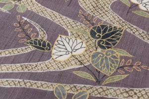 工芸きもの野口製 麻名古屋帯地「流水葵桐散」のサブ2画像