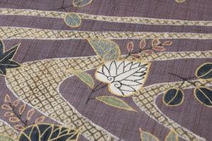 工芸きもの野口製 麻名古屋帯地「流水葵桐散」のサブ3画像