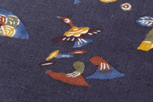 柚木沙弥郎作 型絵染紬名古屋帯のサブ2画像