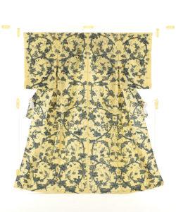 小島悳次郎作 縮緬型絵染訪問着地「瓜唐草紋」のメイン画像