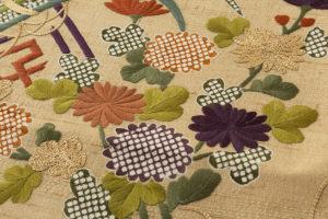ぎをん齋藤製 紬地刺繍袋帯のサブ3画像
