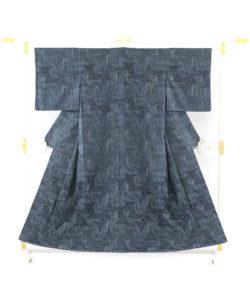 遠藤あけみ作 型絵染紬着物「朔」のメイン画像
