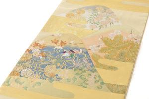 川島織物製 本金箔本極錦 袋帯「新春秋小袖山水」のサブ1画像