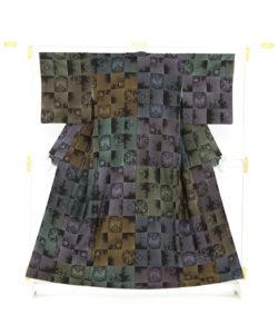 大島紬 着物「正倉院市松」のメイン画像